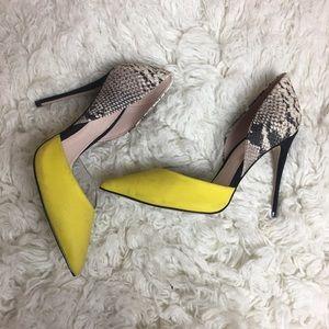 ALDO snake skin with yellow heels